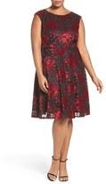 Tahari Plus Size Women's Sparkle Velvet Fit & Flare Dress