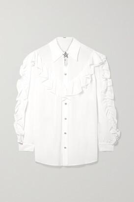 Miu Miu Crystal-embellished Ruffled Silk-georgette Blouse - Ivory
