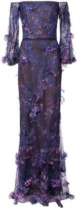 Marchesa Off-The-Shoulder Floral Dress