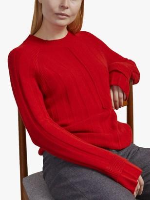 Jigsaw Merino Cashmere Ribbed Jumper, Cardinal Red