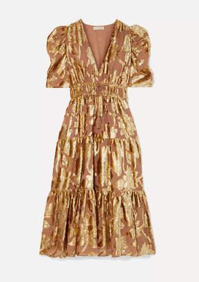 Ulla Johnson Loretta Tiered Devore-chiffon Midi Dress - Gold
