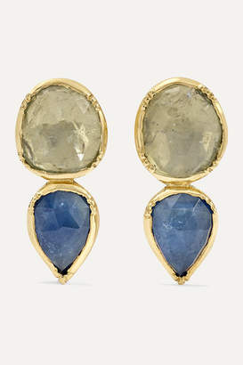 Brooke Gregson Double Orbit 18-karat Gold Sapphire Earrings - Gray green