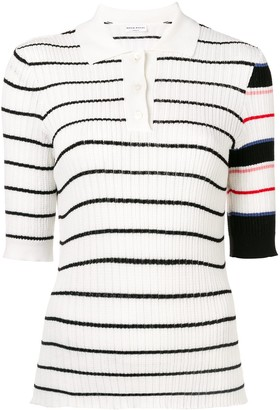 Sonia Rykiel striped ribbed knit polo top
