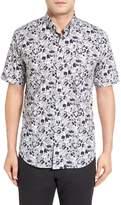 Bugatchi Shaped Fit Optic Swirl Short Sleeve Sport Shirt