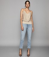 Reiss Claudia - Metallic Wrap Front Cami in Silver