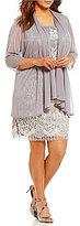 R & M Richards Plus Embroidered Lace Fringe Jacket Dress