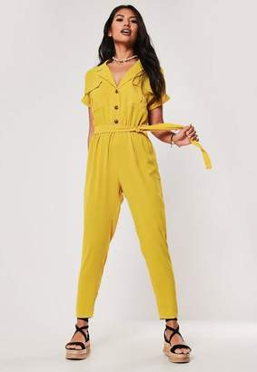 Missguided Yellow Button Front Pocket Wide Leg Romper