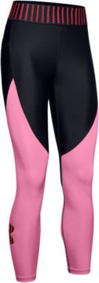 Under Armour HeatGear Armour Color Block Crop - Black / Lipstick Pink