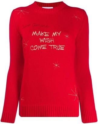 Giada Benincasa Slogan Embroidery Wool Jumper