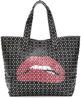RED Valentino studded appliqué lips tote bag