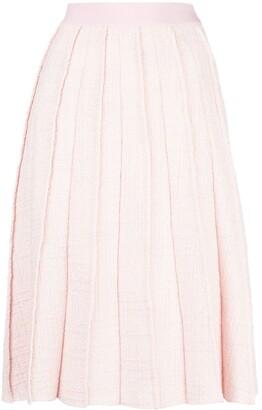 Giambattista Valli Pleated Tweed Midi Skirt