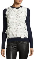 Prabal Gurung Lace-Front Cashmere Sweater, Navy