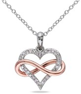 Allura 1/10 CT. T.W. Diamond Heart and Infinity Pendant Necklace in Sterling Silver (GH) (I2:I3)