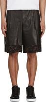 Yang Li Black Leather & Tapestry Layered Shorts