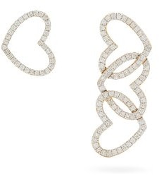 Yvonne Léon Diamond & 18kt Gold Mismatched Heart Earrings - Crystal