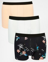 Asos Trunks 3 Pack With Floral Print