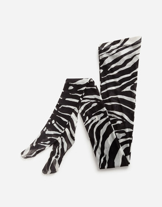 Dolce & Gabbana Zebra Print Tights In Tulle