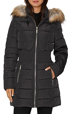 Laundry by Shelli Segal Cinched Waist Faux Fur Trim Puffer Coat