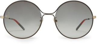 Gucci Lasered-logo Round Metal Sunglasses - Womens - Grey Gold