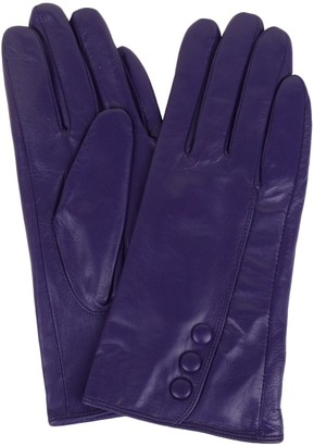 "SNUGRUGS Womens Butter Soft Premium Leather Glove with Classic Triple Button Stitch Detail & Warm Fleece Lining - Navy - Large (7.5"")"