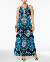 INC International Concepts Plus Size Beaded Halter Maxi Dress, Created for Macy's
