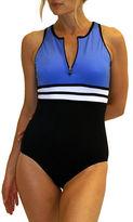 Fit 4 U Colorblocked Zip Front One Piece Swimsuit