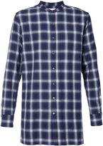 Ovadia & Sons collarless plaid shirt