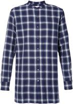 Ovadia & Sons collarless plaid shirt