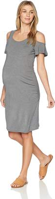 Three Seasons Maternity Women's Cold Shoulder Side Ruche Fitted Dress