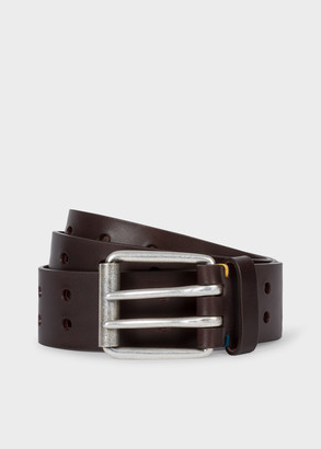 Paul Smith Men's Brown Leather Double-Prong Belt