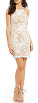 B. Darlin High Neck Sequin Floral Pattern Overlay Sheath Dress