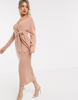 Style Cheat knot front knitted oversized dress in pink