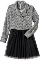 Knitworks Girls 7-16 Textured Moto Jacket & Glitter Mesh Dress with Necklace Set