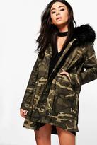 Boohoo Tiffany Boutique Camo Faux Fur Hood Parka