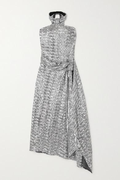 Thumbnail for your product : Roland Mouret Halse Asymmetric Sequined Jersey Halterneck Midi Dress - Silver