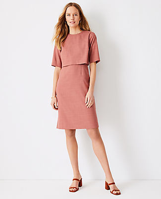 Ann Taylor The Elbow Sleeve Overlay Sheath Dress in Crosshatch