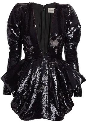 Alexandre Vauthier Allover Sequin V-Neck Mini Dress