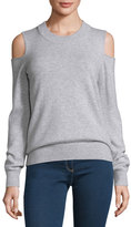 Veronica Beard Central Melange Cold-Shoulder Cashmere Sweater, Fog