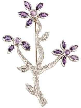 Cathy Waterman Platinum Sapphire & Diamond Branch Brooch