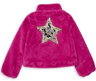 Imoga Little Girl's Girl's Greta Sequin-Accent Faux Fur Coat
