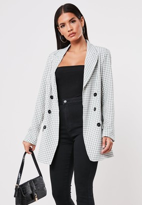 Missguided Grey Checked Co Ord Blazer