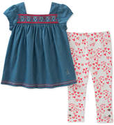 Calvin Klein 2-Pc. Denim Tunic & Heart-Print Leggings Set, Toddler Girls