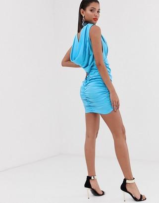 Asos Design DESIGN high neck cowl back mini dress in satin-Blue
