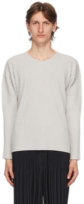Issey Miyake Homme Plisse Grey Basics Long Sleeve T-Shirt
