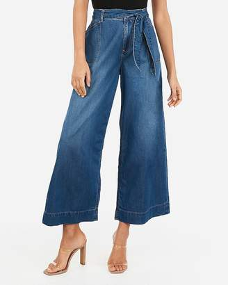 Express High Waisted Belted Cropped Wide Leg Jeans