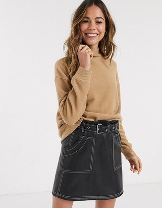 New Look ribbed high neck jumper in camel-Pink