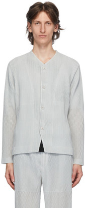 Homme Plissé Issey Miyake Grey Outer Mesh Cardigan