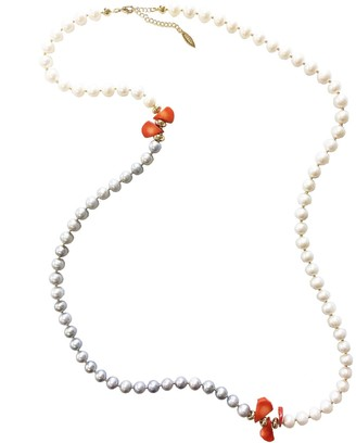 Farra Grey & White Freshwater Pearls With Floral Corals Multi-Way Necklace