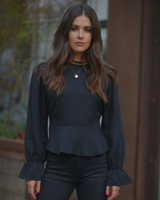 The Drop Women's Black Cutout Back Peplum Top by @paolaalberdi XS