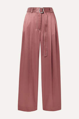 Sies Marjan Blanche Belted Pleated Satin-twill Wide-leg Pants - Antique rose